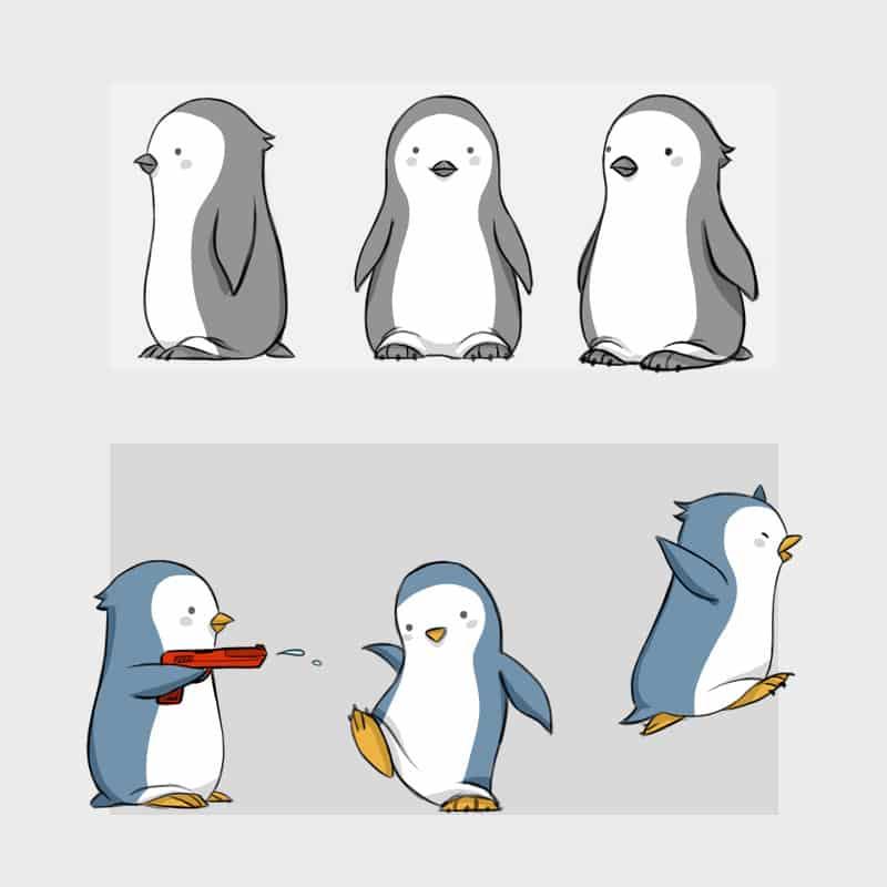 Pingüino diseño de personaje